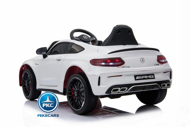 Coche electrico para niños Mercedes C63 Blanco apertura de puertas