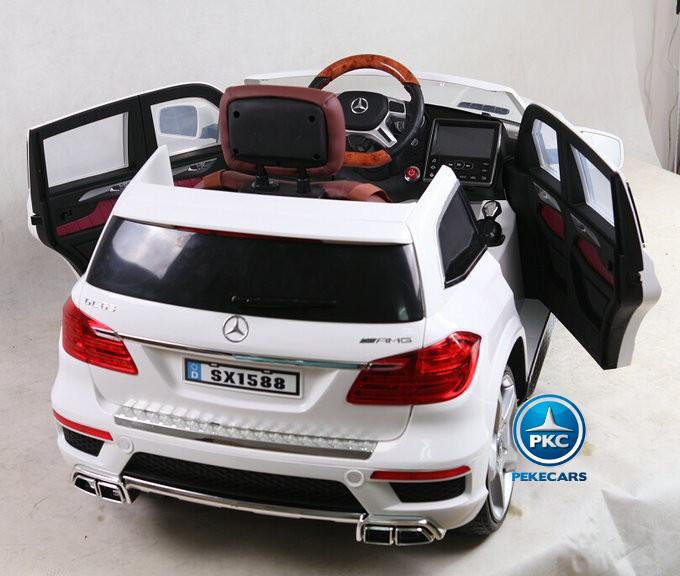 Coche electrico para niños Mercedes GL63 Version Superior Blanco detalles del interior