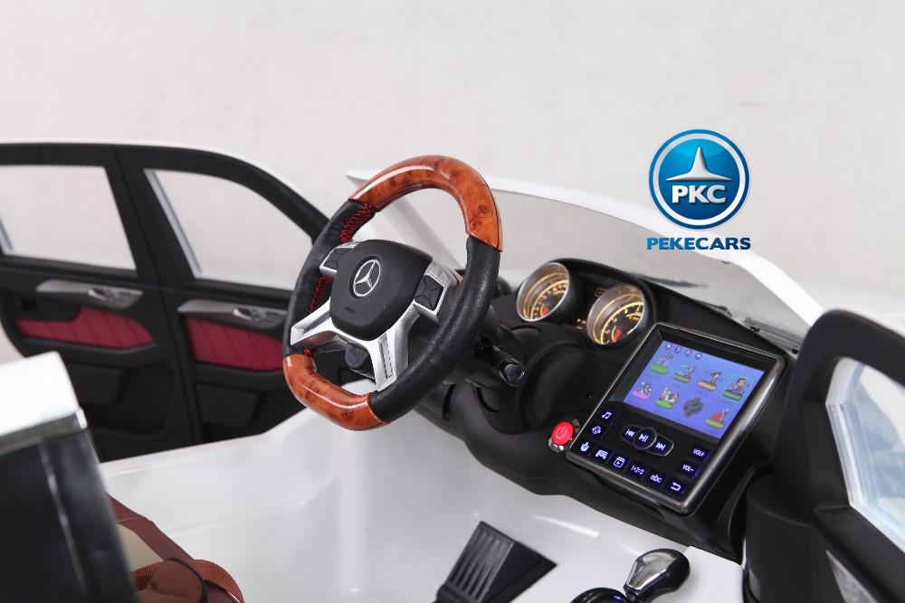 Coche electrico para niños Mercedes GL63 Version Superior Blanco con pantalla MP4