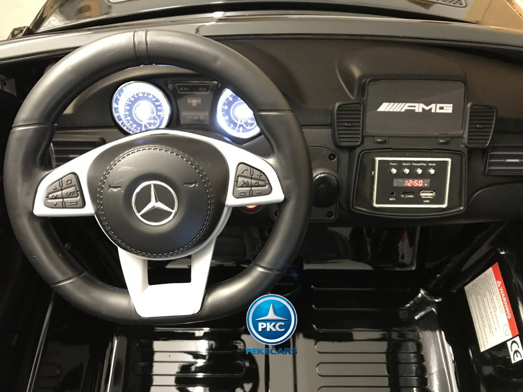 Coche electrico infantil Mercedes GLS63 Negro de dos plazas volante a la izquierda