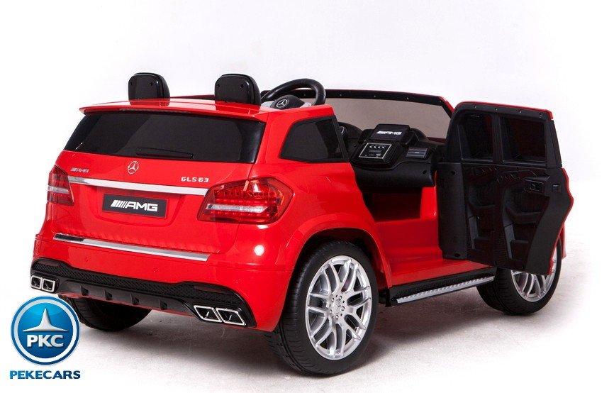 Coche electrico infantil Mercedes GLS63 Rojo con puertas abiertas