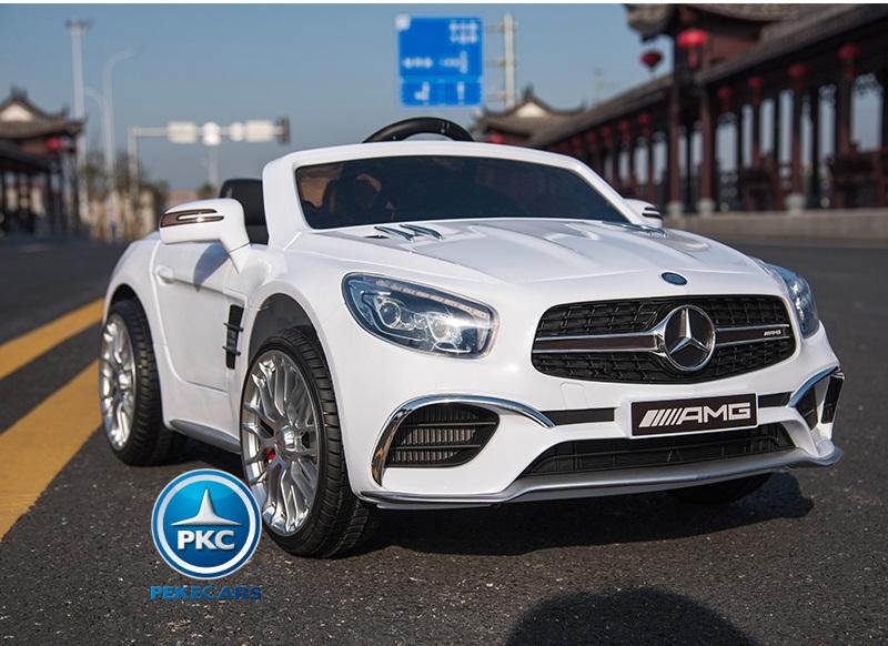 Coche electrico para niños Mercedes SL65 Blanco con ruedas de caucho antipinchazos