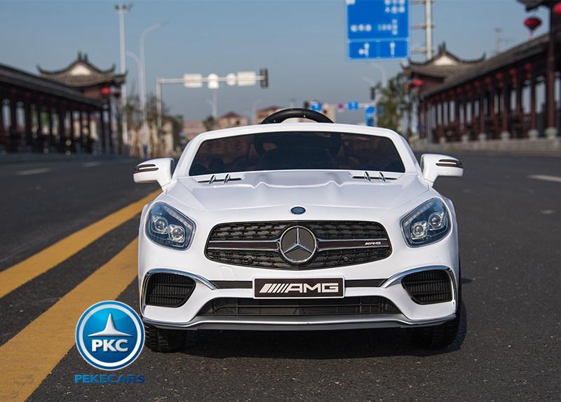 Coche electrico infantil Mercedes SL65 Blanco vista frontal
