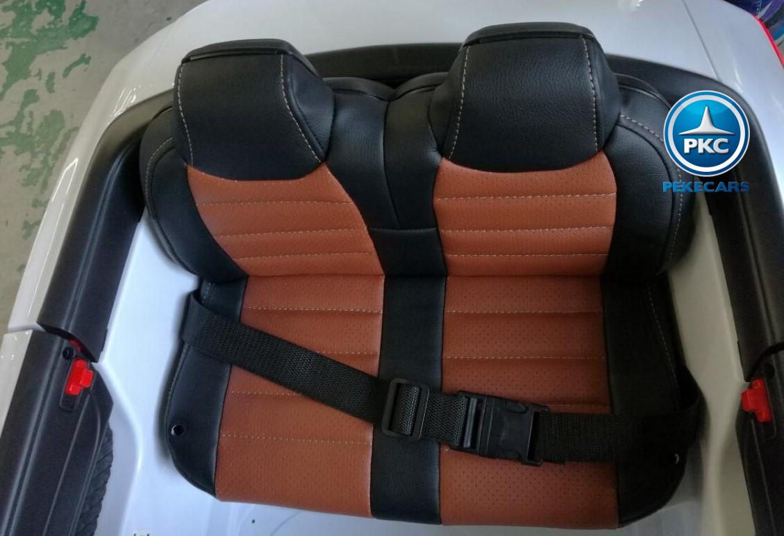 Coche electrico para niños Mercedes SL65 Blanco asiento con cinturon de seguridad