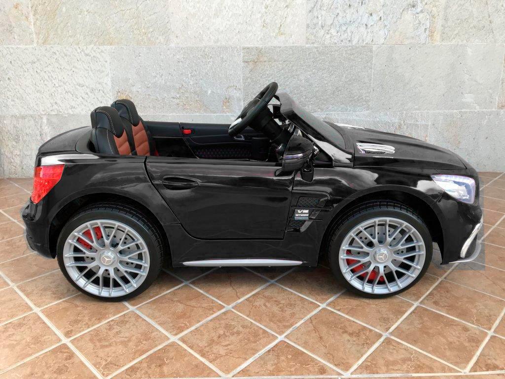 Coche electrico infantil Mercedes SL65 con MP4 y bateria extra Negro con llave de arranque