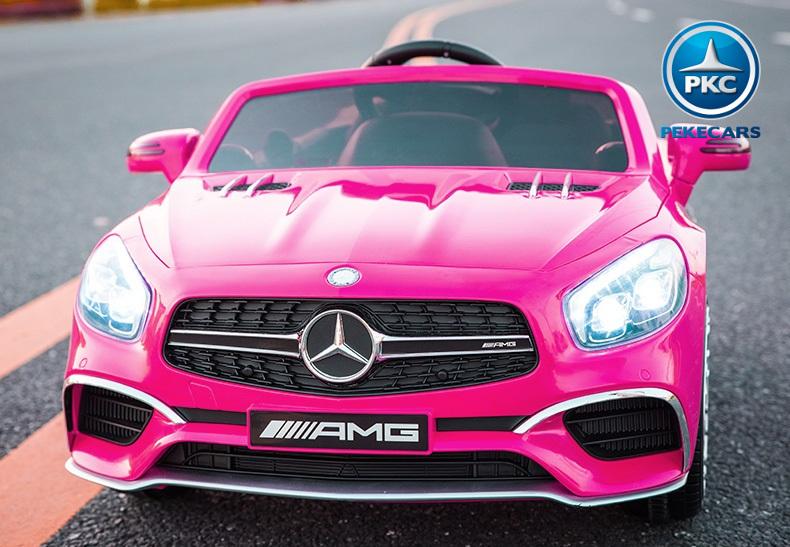 Coche electrico para niños Mercedes SL65 Rosa con radio FM incorporada
