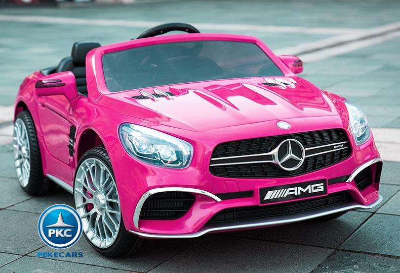 Coche electrico infantil Mercedes SL65 Rosa con ruedas de caucho antipinchazos