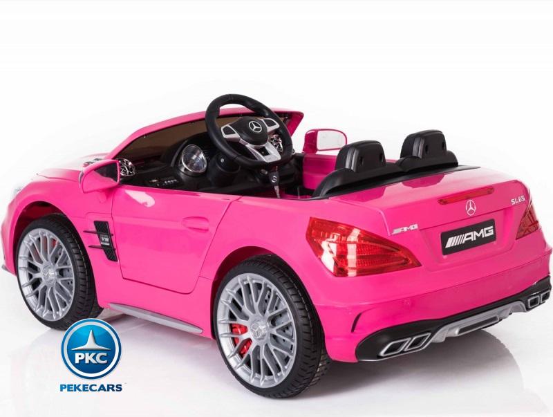Coche electrico para niños Mercedes SL65 Rosa con luces traseras