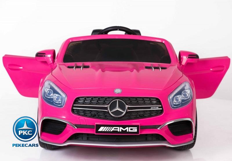 Coche electrico infantil Mercedes SL65 Rosa vista frontal
