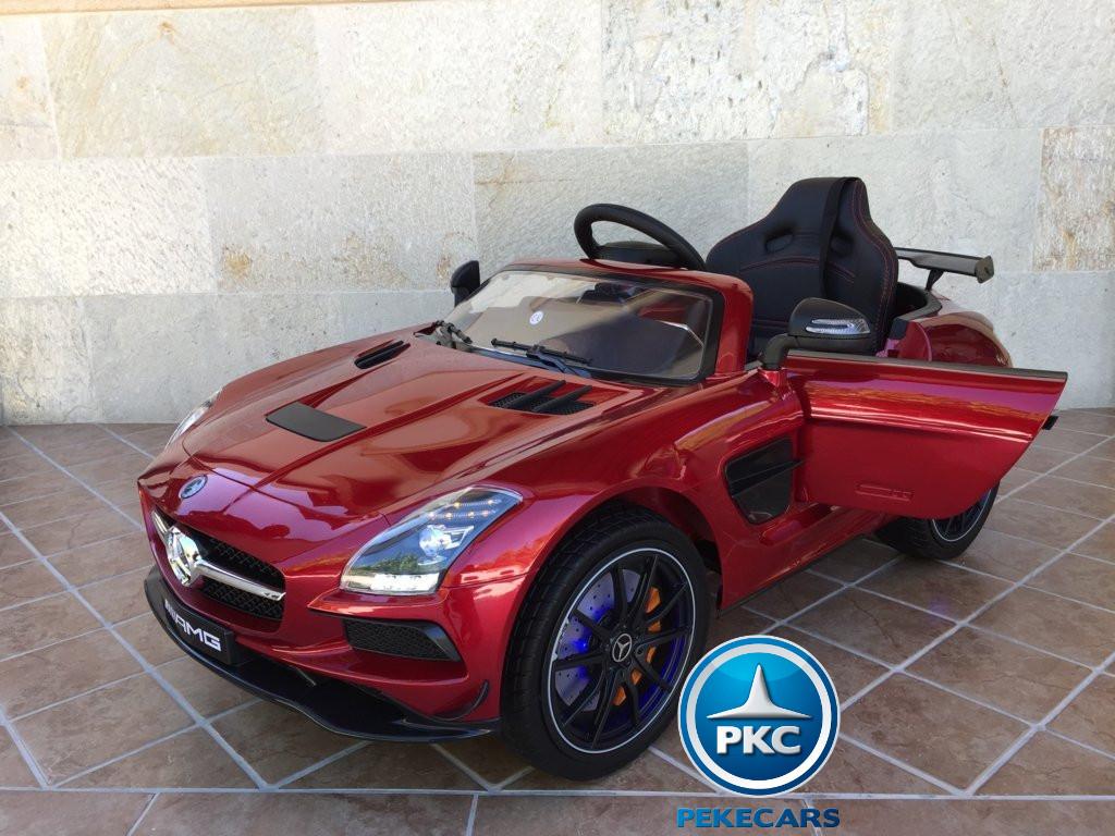 Coche electrico para niños Mercedes deportivo sls Rojo Metalizado vista principal