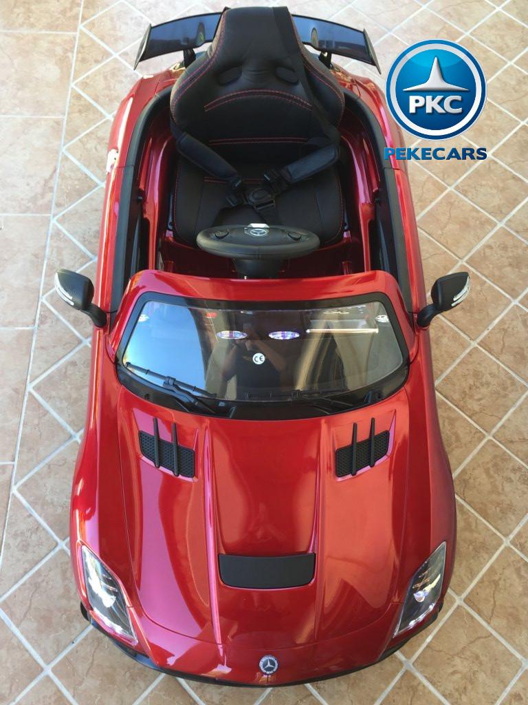 Coche electrico para niños Mercedes deportivo sls Rojo Metalizado apertura maletero