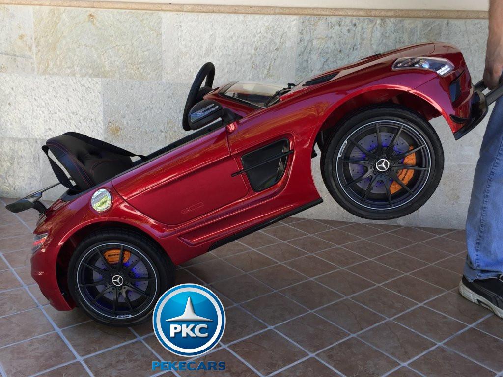 Coche electrico para niños Mercedes deportivo sls Rojo Metalizado asiento acolchado en piel
