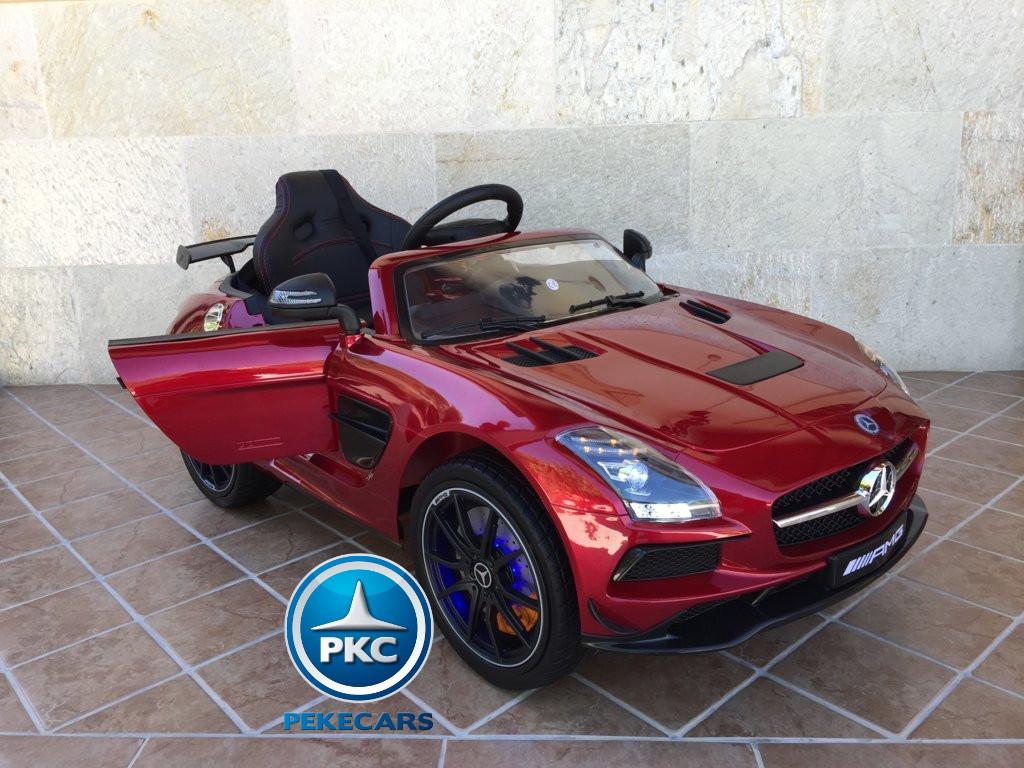 Coche electrico infantil Mercedes deportivo sls Rojo Metalizado volante con musica y claxon