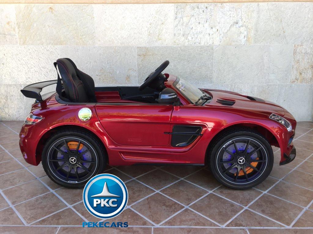 Coche electrico para niños Mercedes deportivo sls Rojo Metalizado pantalla MP4