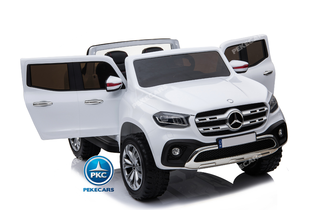 Coche electrico para niños Mercedes Pickup X Class 12V Blanco con apertura de puertas