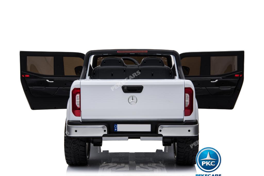 Coche electrico para niños Mercedes Pickup X Class 12V Blanco vista trasera