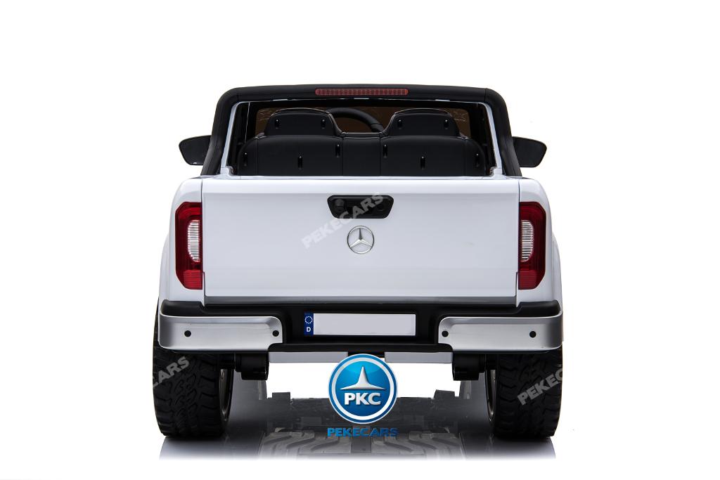 Coche electrico para niños Mercedes Pickup X Class 12V Blanco con maletero trasero