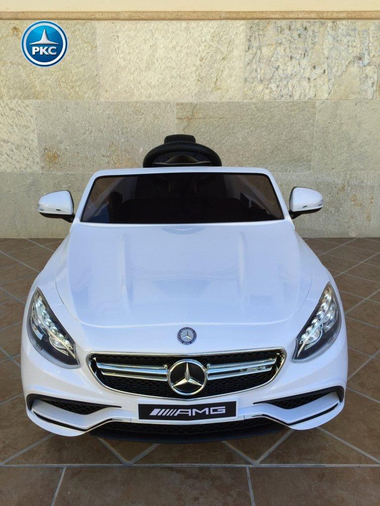 Coche electrico infantil Mercedes S63 Blanco vista frontal