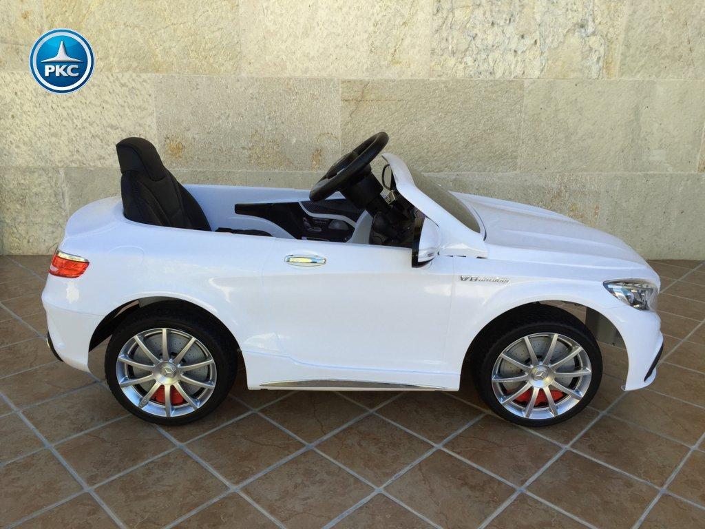 Coche electrico infantil Mercedes S63 Blanco lateral