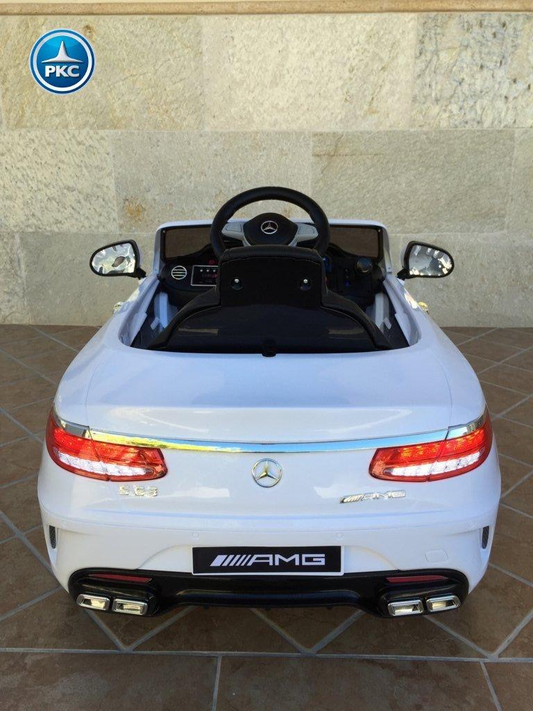 Coche electrico para niños Mercedes S63 Blanco vista trasera