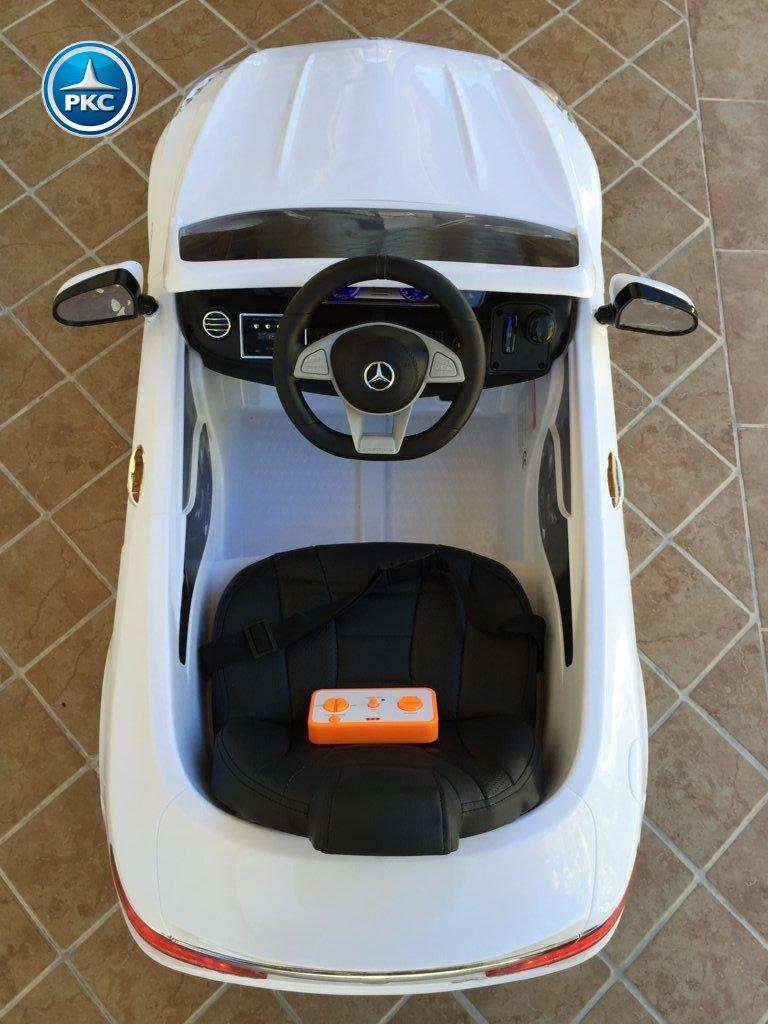 Coche electrico para niños Mercedes S63 Blanco detalles del interior