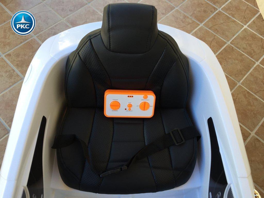 Coche electrico para niños Mercedes S63 Blanco asiento acolchado en piel