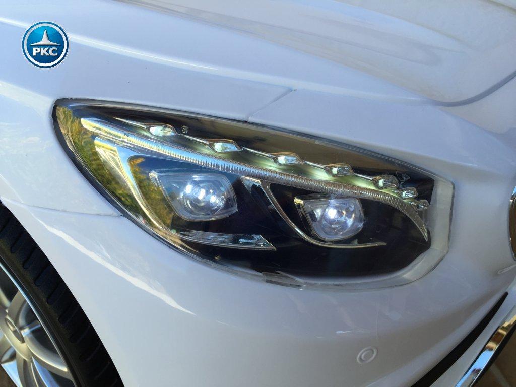 Coche electrico infantil Mercedes S63 Blanco luces frontales