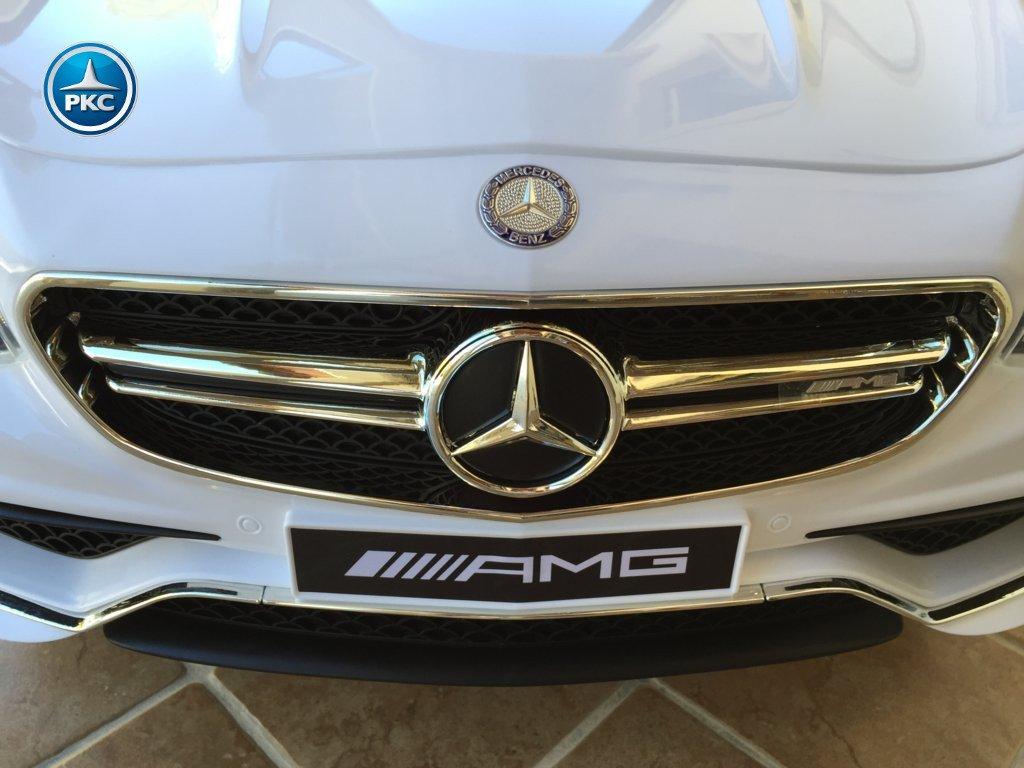 Coche electrico para niños Mercedes S63 Blanco detalles de la parrilla delantera