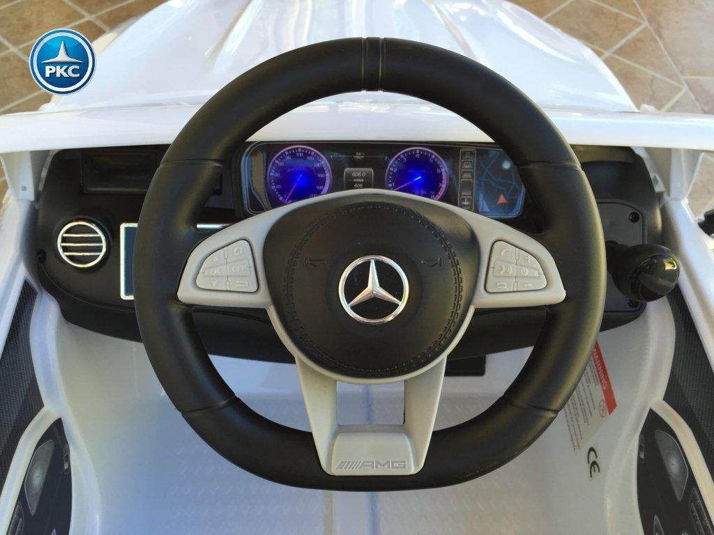 Coche electrico infantil Mercedes S63 Blanco volante con musica y claxon