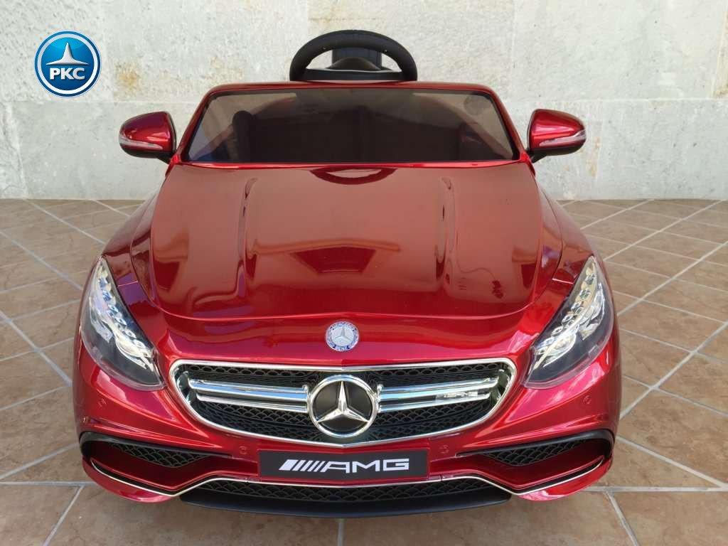Coche electrico para niños Mercedes S63 Rojo metalizado vista frontal