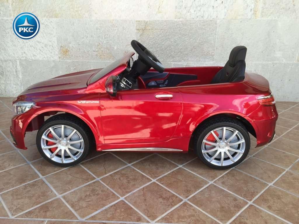 Coche electrico para niños Mercedes S63 Rojo metalizado lateral