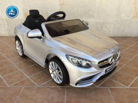 Mercedes S63 plata metalizado 12V para niños con asiento en piel