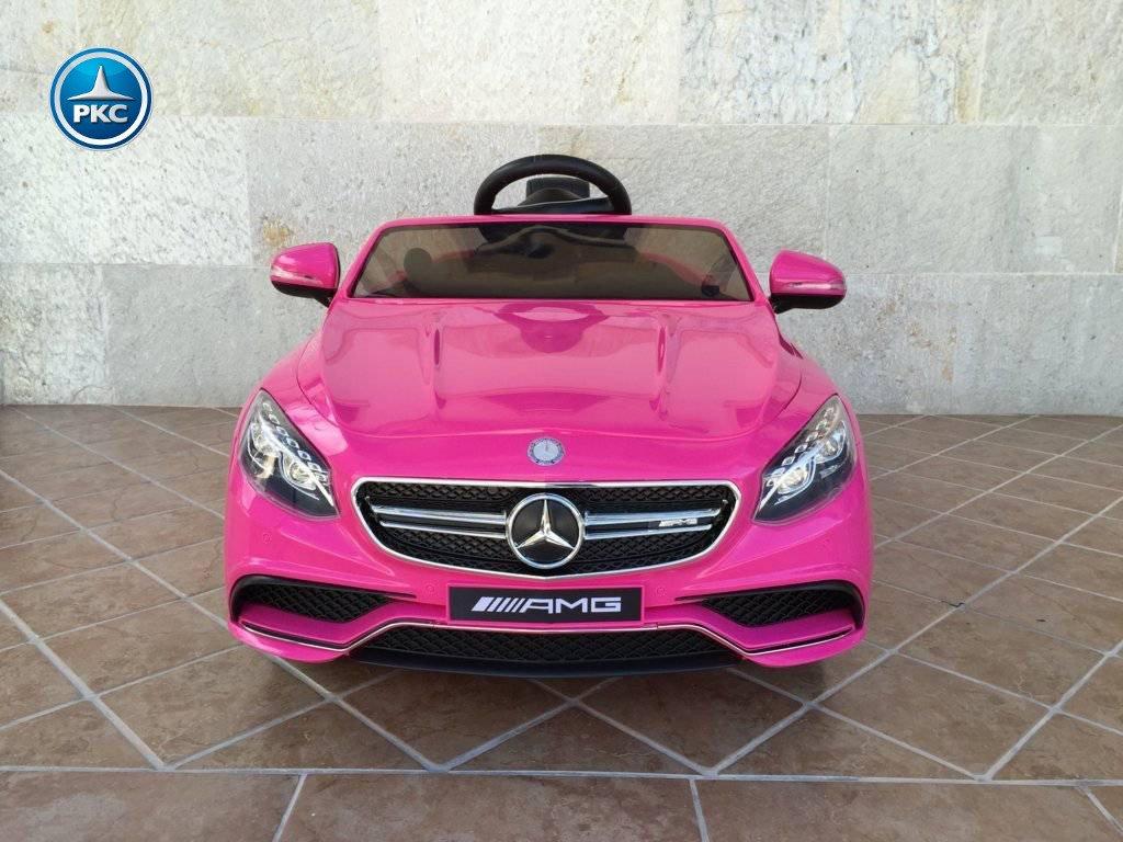 Coche electrico infantil Mercedes S63 Rosa vista frontal