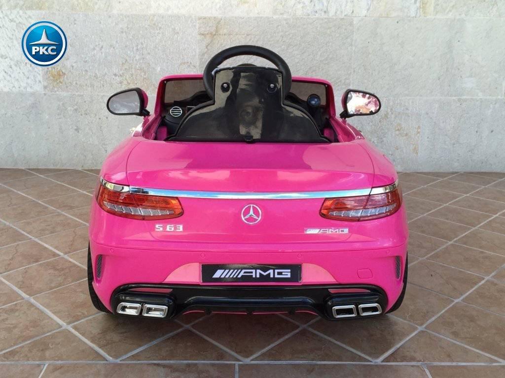 Coche electrico para niños Mercedes S63 Rosa  vista trasera