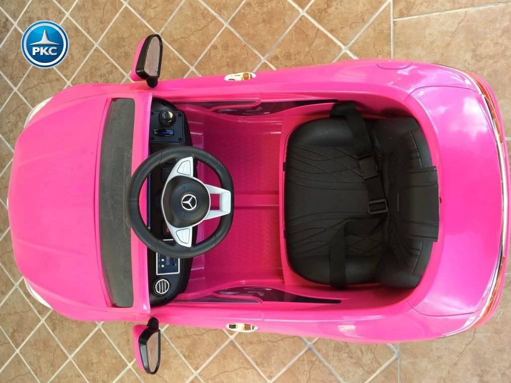 Coche electrico infantil Mercedes S63 Rosa detalles del interior