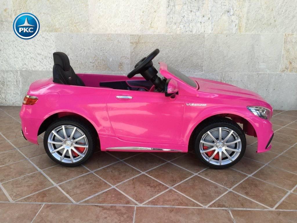 Coche electrico para niños Mercedes S63 Rosa vista lateral