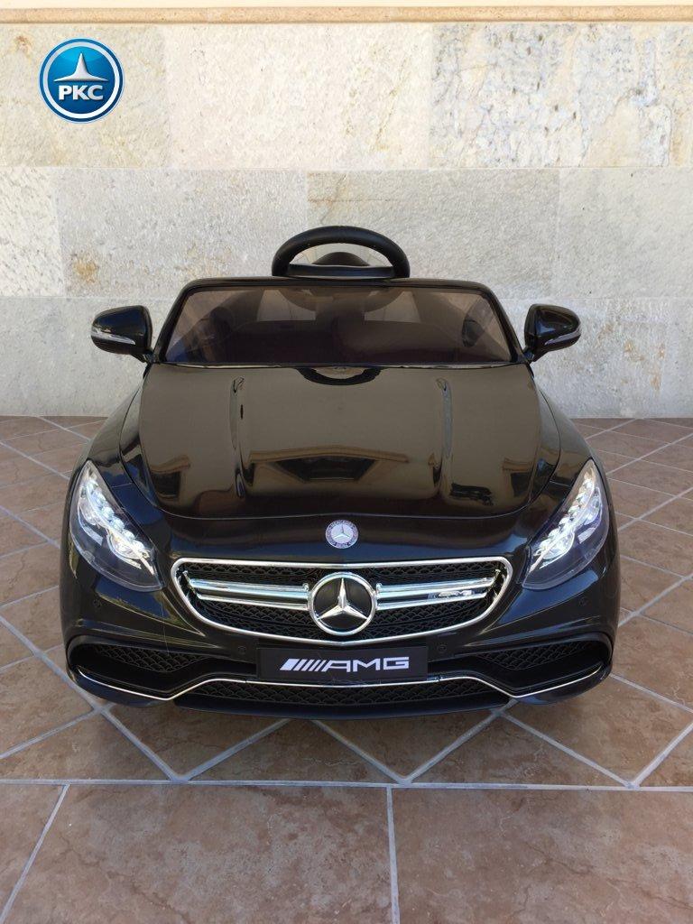 Coche electrico para niños Mercedes S63 Negro vista frontal