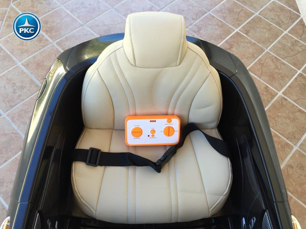 Coche electrico para niños Mercedes S63 Negro asiento acolchado en piel