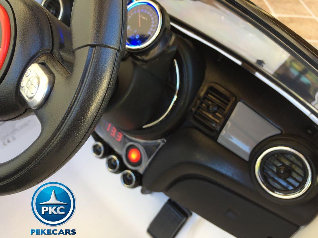 Coche electrico infantil Mini Hatch Blanco con boton de encendido