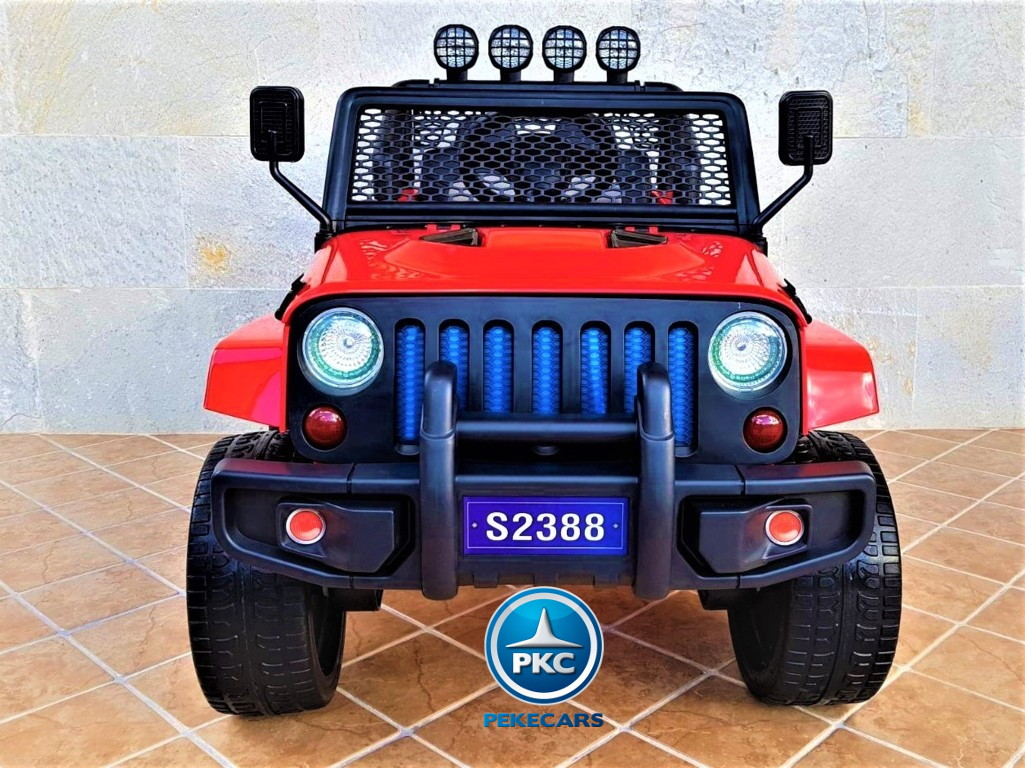Coche electrico infantil Monster Jeep Rojo frontal