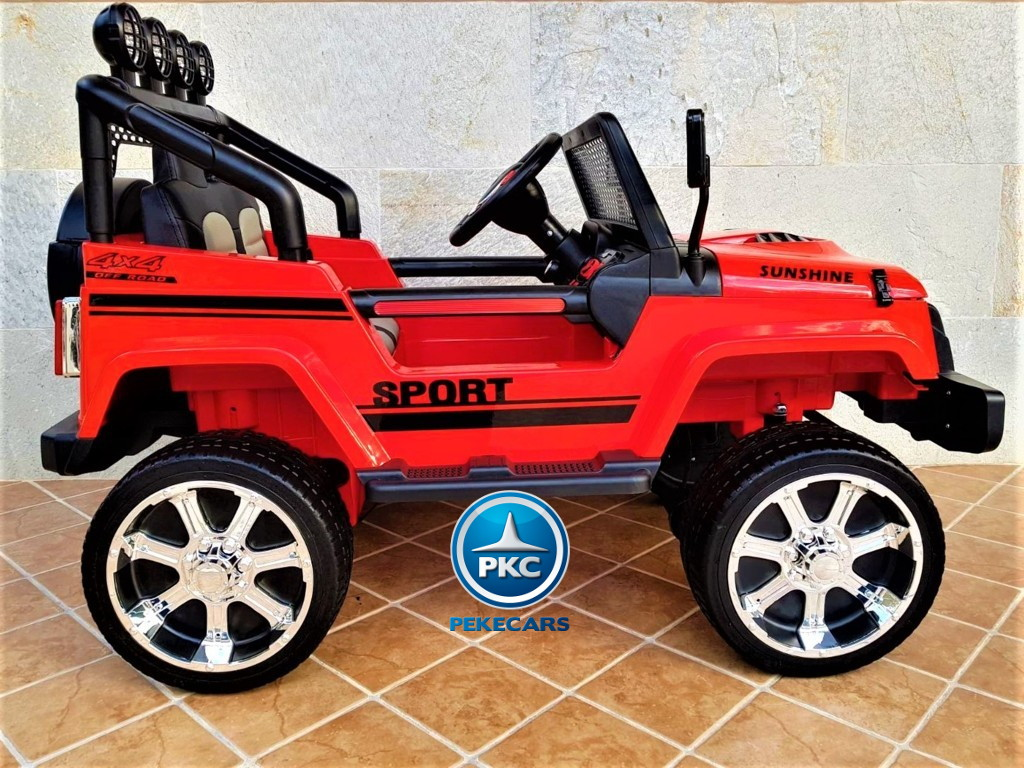 Coche electrico infantil Monster Jeep Rojo lateral