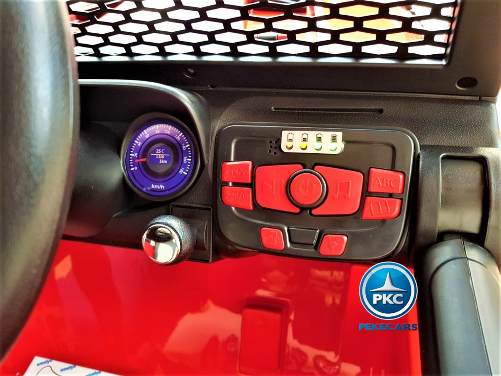 Coche electrico infantil Monster Jeep Rojo dashboard