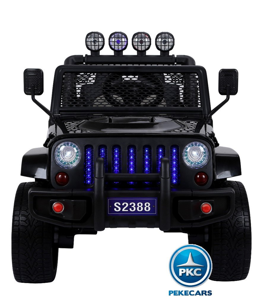 Coche electrico infantil Monster Jeep Negro frontal