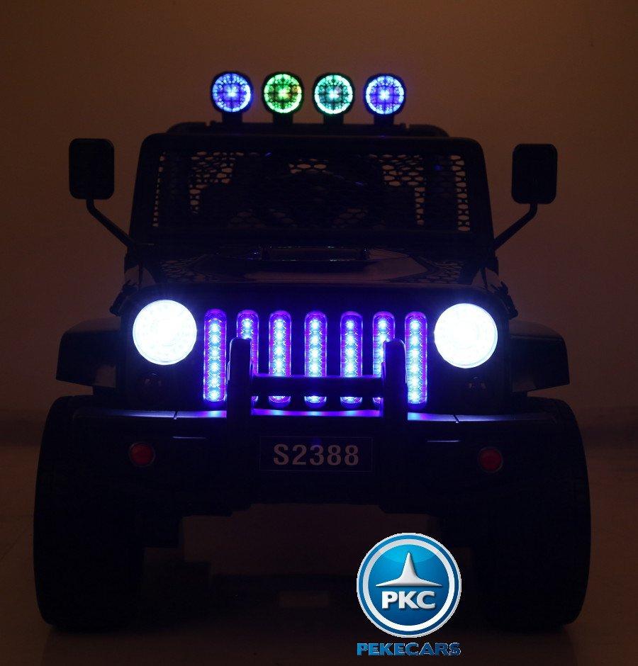 Coche electrico para niños Monster Jeep Negro luces