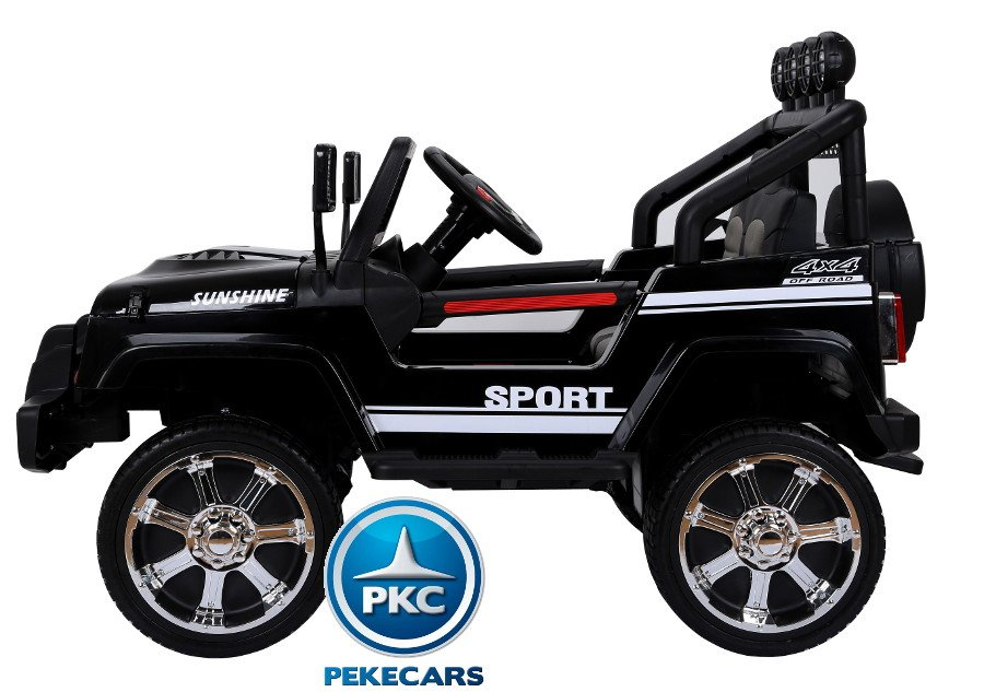 Coche electrico infantil Monster Jeep Negro lateral