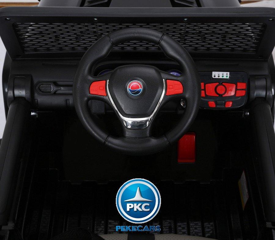 Coche electrico para niños Monster Jeep Negro volante