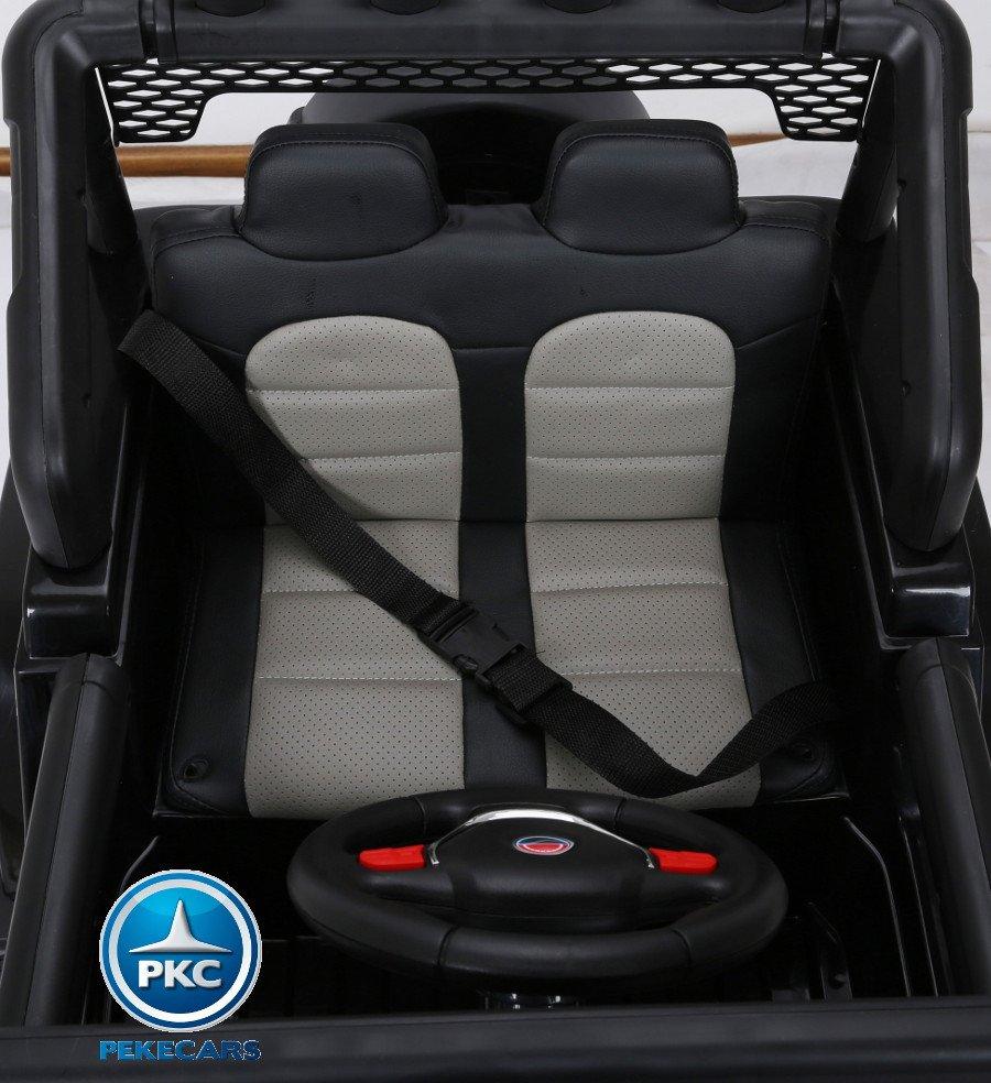 Coche electrico infantil Monster Jeep Negro cinturon de seguridad