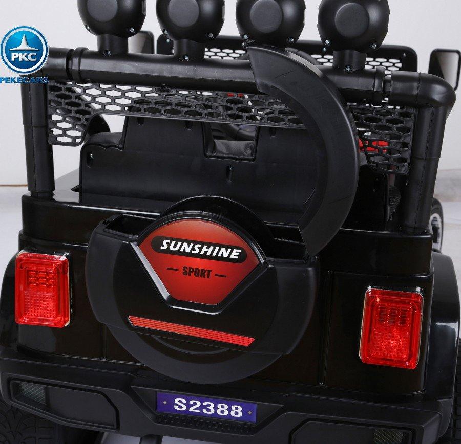Coche electrico para niños Monster Jeep Negro maletero