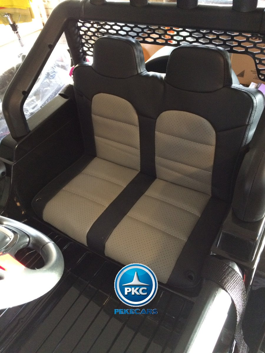 Coche electrico para niños Monster Jeep Negro asiento acolchado