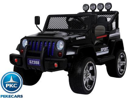 Pekecars Monster Jeep Negro 4x4 12V 2.4G 2 Plazas